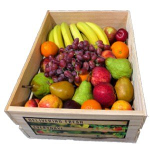 Large wooden crate box of fruit